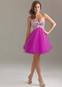 Fuchsia Strapless Tulle A Line Beaded Corset Night Moves 6410 Homecoming Dress
