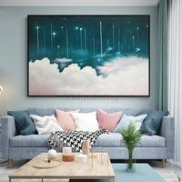 Abstract paintings on canvas original scenery blue painting cloud and Starry sky wall pictures large painting home decor cuadros abstractos $123.75