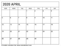Free April 2020 Calendar Downloadable in PDF and png.