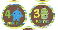 Month By Month Stickers That Go With My Nursery Theme..... Peek A Boo Monster Baby Onsie Stickers Digital by LeslisDesigns, $8.99