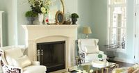 A Spring Mantel and More (wall color: Sherwin Williams Rainwashed)