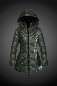 Buy Hooded Zipper Down Coat In Olive Moncler Jackets 2017 New Arrival For Women monclersale.us.com