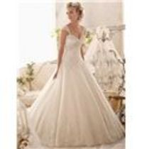 Exquisite Ball Gown Embroidery on Tulle Edged with Sparkling Beading and Wide Hemline Wedding Dress