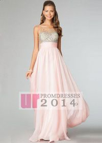 Chiffon Jeweled Pink Long Sleeveless Sheer Back Prom Dress