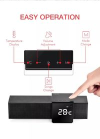Havit M28 Portable Wireless bluetooth Speaker Dual Units LED Display Alarm Clock FM Radio TF Card Smart Touch Speaker with Mic