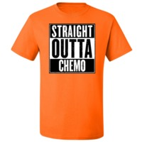 Funny and bold Straight Out of Chemo T-Shirt featuring this humorous statement
