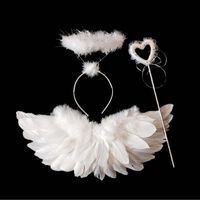 Children Princess Feather Angel Wings Headband Magic Wand Sticks Photo Props Halloween Party Supplies $20.00