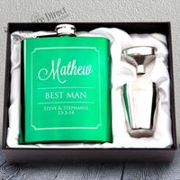 7oz Green Hip Flask Gift Set Engraved Stainless