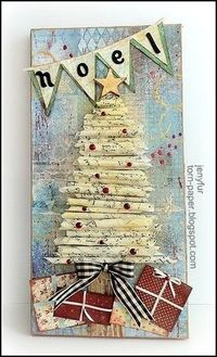 altered art Christmas tree decorations | Isn't that great? I loved the rolled paper tree and thought it would ...