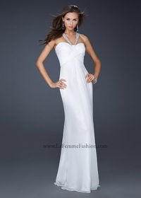 White Long Pleated Sequin Gemmed Strap Chiffon Dress for Prom