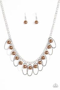 Paparazzi Party Princess - Brown Pearl Bead Silver Hoop Fringe Silver Chain Necklace $5.00