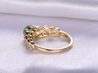 1.5CT ROUND CUT NATURAL EMERALD AND DIAMOND ENGAGEMENT RING 14K YELLOW GOLD CLAW PRONGS