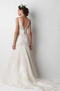LOVE the low back and vintage lace and buttons on this Watters wedding gown!