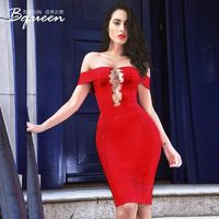 2017 summer new character a sense of off-the-shoulder stylish hollow-out slim fit Party Dress bandage dress - Bonny YZOZO Boutique Store