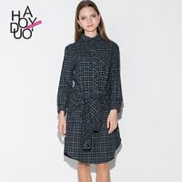 Spring/summer 2017 new stylish plaid skirts dresses, button placket binding - Bonny YZOZO Boutique Store