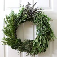 A wreath of fresh herbs is so much more than a festive holiday decoration. It is as functional as it is beautiful, providing a veritable garden of herbs that wi