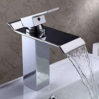 Contemporary Waterfall Bathroom Sink Taps - Chrome Finish