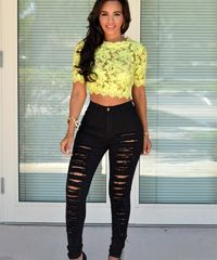 High Waist Ripped Skinny Jeans $36.99