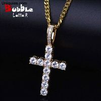 Men Women AAA Zircon Cross Pendant Gold Silver Copper Material Iced CZ Cross Pendants Necklace Chain Fashion Hip Hop Jewelry $25.70