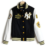 Yellow Trim NY Black White Leather Sleeves Lovers Baseball Outerwear Jacket 2015