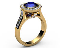 Sapphire Engagement Ring Cathedral channel frame Pavé halo ring 18K Yellow gold Jewelry marriage anniversary ring $2520.00