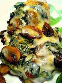 Smothered Chicken w/Mushrooms and Spinach.. gonna try this tonight1