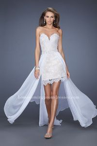 La Femme 19749 Elegant High and Low Lace White/Nude Strapless Homecoming Dresses