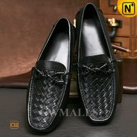 Men Leather Shoes Review | CWMALLS® Rome Woven Leather Driving Loafers CW706163