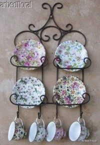 Iron Tea cup & Saucer Display Wall Mounted Holder Rustic Brown TeaCup - again, curlicues