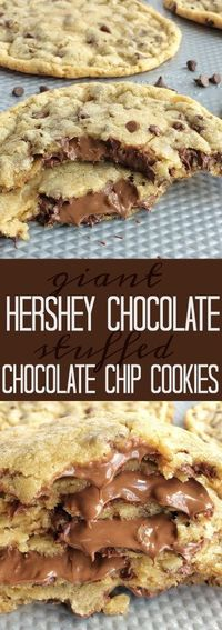 Giant chocolate chip cookies that are stuffed with Hershey chocolate! The best chocolate chip cookie dough loaded with mini chocolate chips and then stuffed wit