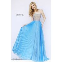 Blue Sherri Hill 32143 - Chiffon Pearls Dress - Customize Your Prom Dress