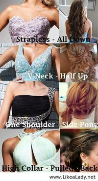 "Its O.K. to break the rules here, but here is a good guide for ""How to wear your hair with certain necklines"""