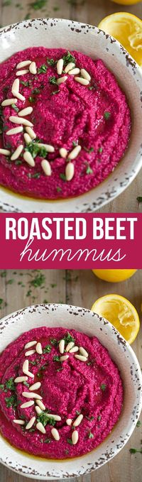 This vibrant and colorful Roasted Beet Hummus is easy to make, super creamy and is the perfect healthy appetizer when served with pita chips or veggies!