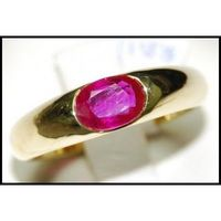 Oval Red Ruby Unique 18K Yellow Gold Natural Solitaire Ring [RS0014]