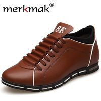 Merkmak Men Casual Shoes High Quality Leather Mens Shoes Fashion Lace-Up Comfortable Man Luxury Shoes £49.48