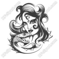 Woman's face and snake - tattoo style hand drawn art Royalty Free Vector Clip Art