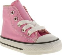 Converse Pink All Star Hi Girls Toddler The Converse All Star Hi is scaled down for your little ones! The canvas upper and rubber toe cap look super cute on this miniature version of the sneaker. A vulcanised sole completes the classics lit http://www.com...
