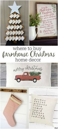 The best sources for handmade farmhouse Christmas home decor. Fixer upper style, rustic and vintage inspired items all from Etsy shops!