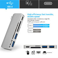 Universal 5 in 1 Type-c to Dual USB 3.0 TF Memory SD Card Reader PD Fast Charge Adapter HUB