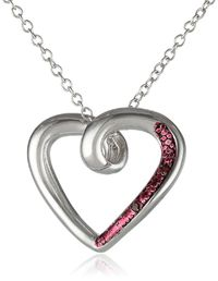 Sterling Silver Red Diamond-Accented Open Heart Pendant Necklace, 18""