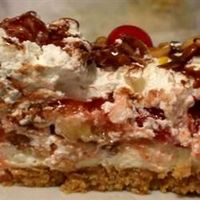 Southern Style Banana Split Cake my way...,Graham Crackers, Cool Whip, Butter, Cream Cheese, Sugar, Pineapple, Maraschino Cherries, Bananas, Caramel topping, Choc Topping, SINFUL GOODNESS!