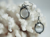 Clear drop glass earrings with hypoallergenic Earring Hooks, two drops with bubbles $10.00