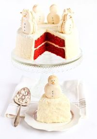 Christmas Red Velvet Snow Cake topped with Snowman Macarons