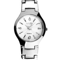 MEN'S TUNGSTEN STEEL QUARTZ CALENDAR WHITE DIAL WITH RHINESTONES WATCH  Special Features: Quartz Movement And Analog Dial Dimensions: Bezel Size - 38 mm, Band Length - 9 Inches