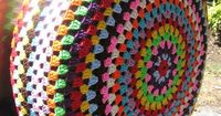 Colorful Crochet Granny Circle Car Spare Tire by multicolorful, $50.00