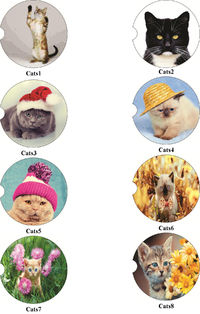 Cats 1-8, 2 Absorbent Car Coasters, Car Accessories for her, Auto Coaster, Coaster, Cup Holder Coaster, Gift For Her, For Him $14.00