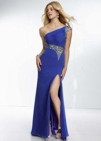 Royal Rhinestone Beaded Illusion Back One Shoulder Slit Dress
