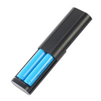 HL02 2-in-1 Multifunction 2 Slots Smart 18650 Battery Charger Portable Power Bank Charger - Black
