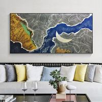 Abstract acrylic blue oil Ocean white moon texture Painting on canvas Mordern seascape Wall Art Pictures for living room cuadros abstractos $129.00