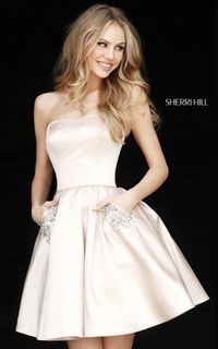 SHORT SATIN NUDE SHERRI HILL 51390 HOMECOMING DRESS OUTLET